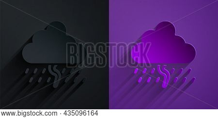 Paper Cut Cloud With Rain And Lightning Icon Isolated On Black On Purple Background. Rain Cloud Prec