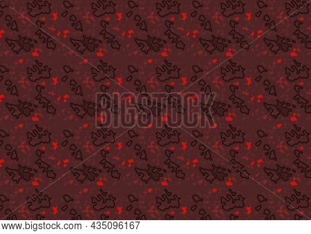 Dark Red Structured Texture With Black Line Segments And Red Glowing Grains - Abstract Background Il