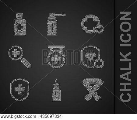 Set Hospital Signboard, Bottle Nasal Spray, Awareness Ribbon, Shield And Heart Rate, Medical Shield