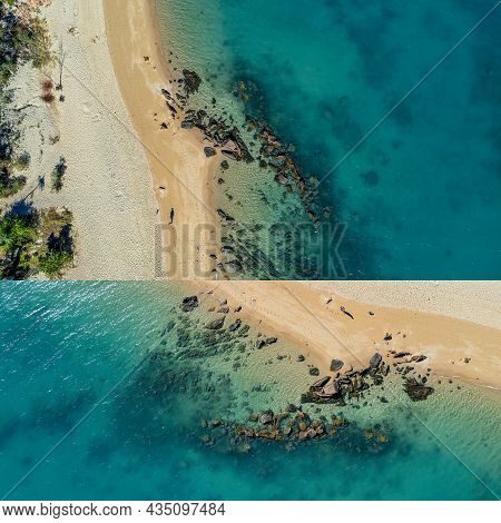 Two Image Collage Of Aqua Colored Shallow Water After The Tide Recedes Exposing The Rocky Coastline
