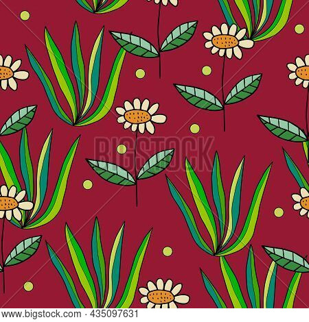 Abstract Colorful Doodle Daisy Flower And Bush Seamless Pattern. Fantasy Floral Background.