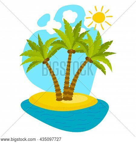 Cute Cartoon Palm Trees On Island With Sky And Clouds, Sea And Sun, Isolated On White Background. Ex