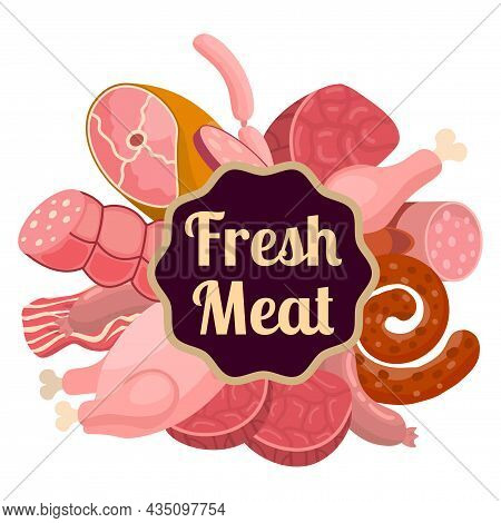 Cartoon Fresh Raw Meat In Flat Style Logo, Label, Wind. Chicken And Bacon, Steak And Sausages, Krako