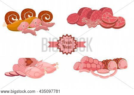 Cartoon Fresh Meat Products Compositions In Flat Style. Chicken And Bacon, Steak And Sausages, Krako