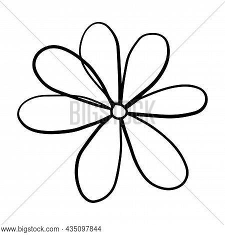Cute Doodle Cartoon Daisy Flower Isolated On White Background. Chamomile Icon.