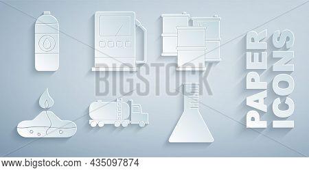 Set Tanker Truck, Barrel Oil, Alcohol Or Spirit Burner, Oil Petrol Test Tube, Petrol Gas Station And