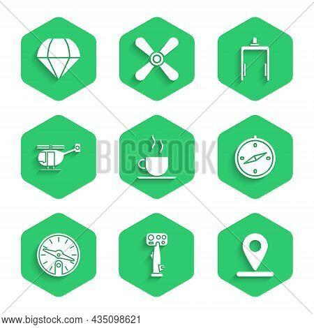 Set Coffee Cup, Aircraft Steering Helm, Location, Compass, Helicopter, Metal Detector Airport And Pa