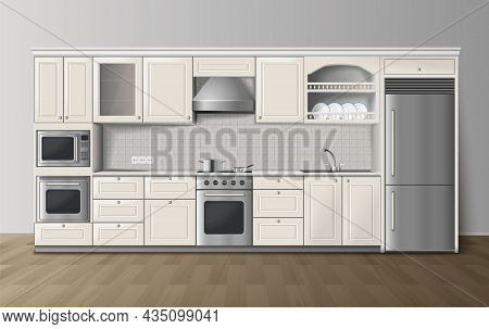 Modern Luxury Kitchen White Cabinets With Built-in Cooker And Refrigerator Realistic Side View Image