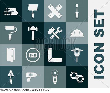 Set Hexagonal Metal Nut, Electric Rotary Hammer Drill, Worker Safety Helmet, Crossed Ruler, Hammer,