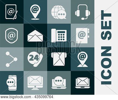 Set Laptop With Envelope, Location And Mail And E-mail, Address Book, World Map Made From Speech Bub