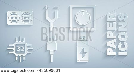 Set Usb Cable Cord, Electric Light Switch, Processor With Microcircuits Cpu, Battery, And Electrical