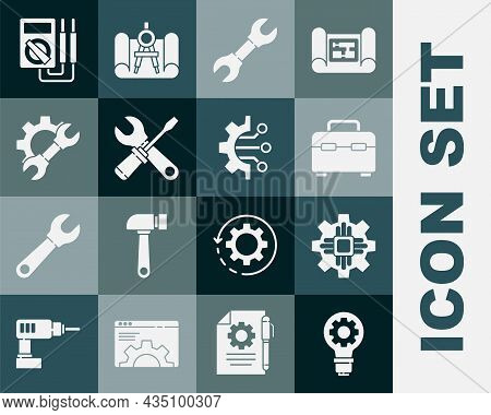 Set Light Bulb And Gear, Processor, Toolbox, Wrench Spanner, Screwdriver Wrench, Multimeter And Algo
