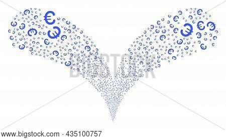 Euro Symbol Twice Fireworks Salute. Euro Symbol Exploding Twice Fountain. Object Fountain Is Combine