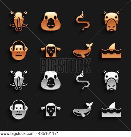 Set Sheep Head, Hippo Or Hippopotamus, Shark Fin In Ocean Wave, Whale, Monkey, Snake, Wild Boar And