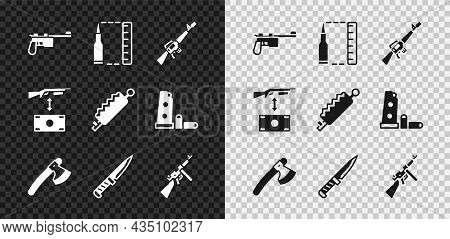 Set Mauser Gun, Bullet, M16a1 Rifle, Wooden Axe, Military Knife, Tommy, Buying Assault And Trap Hunt