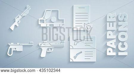 Set Desert Eagle Gun, Firearms License Certificate, Mauser, Weapon Catalog, Collimator Sight And Hun