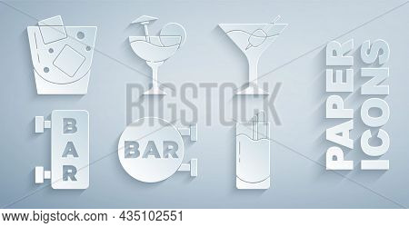 Set Street Signboard With Bar, Martini Glass, Cocktail Bloody Mary, And Glass Of Whiskey Icon. Vecto