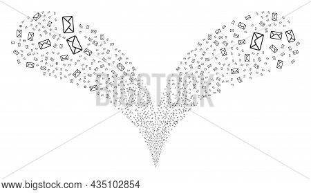 Mail Envelope Twice Fireworks Explosion. Mail Envelope Fireworks Twice Fountain. Object Fountain Is