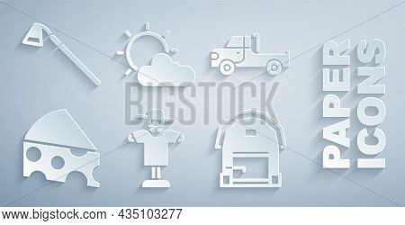 Set Scarecrow, Pickup Truck, Cheese, Farm House, Sun And Cloud Weather And Garden Hoe Icon. Vector