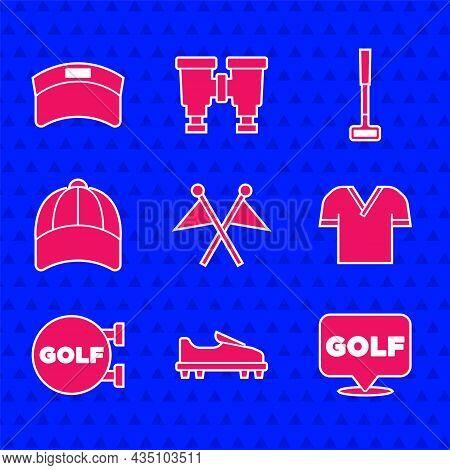 Set Golf Flag, Shoe, Label, Shirt, Sport Club, Baseball Cap, And Sun Visor Icon. Vector