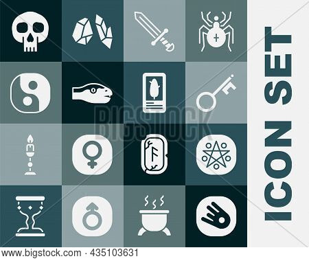 Set Comet Falling Down Fast, Pentagram Circle, Old Key, Medieval Sword, Snake, Yin Yang, Skull And T