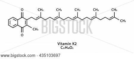 Vitamin K2 Menaquinone Molecular Structure. Vitamin K2 Menaquinone Skeletal Chemical Formula. Chemic
