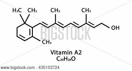 Vitamin A2 Dehydroretinol Molecular Structure. Vitamin A2 Dehydroretinol Skeletal Chemical Formula.