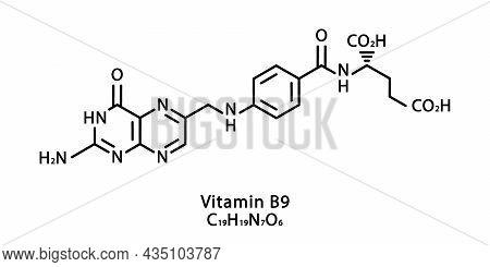 Vitamin B9 Folic Acid Molecular Structure. Vitamin B9 Folic Acid Skeletal Chemical Formula. Chemical