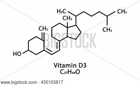 Vitamin D3 Cholecalciferol Molecular Structure. Vitamin D3 Cholecalciferol Skeletal Chemical Formula