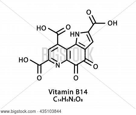 Vitamin B14 Pyrroloquinoline Quinone Molecular Structure. Vitamin B14 Pyrroloquinoline Quinone Skele