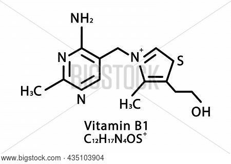 Vitamin B1 Thiamine Molecular Structure. Vitamin B1 Thiamine Skeletal Chemical Formula. Chemical Mol