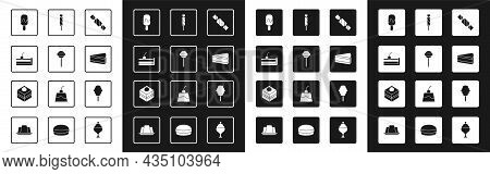 Set Candy, Lollipop, Cherry Cheesecake, Ice Cream, Piece Of, Cotton Candy And Brownie Chocolate Icon