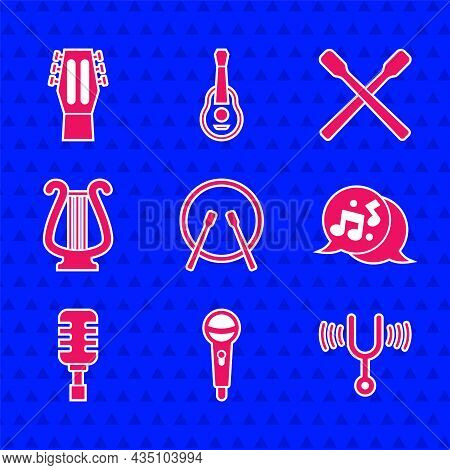 Set Drum And Drum Sticks, Microphone, Musical Tuning Fork, Note, Tone, Ancient Lyre, And Guitar Icon