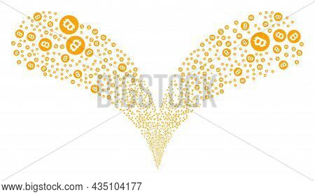 Bitcoin Gold Coin Twice Fireworks Explosion. Bitcoin Gold Coin Fireworks Twice Fountain. Object Foun