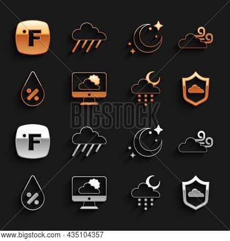 Set Weather Forecast, Windy Weather, Cloud With Rain And Moon, Water Drop Percentage, Moon Stars, Fa