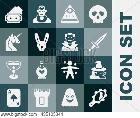 Set Magic Hand Mirror, Witch, Dagger, Masons, Rabbit With Ears, Unicorn, Ticket And Vampire Icon. Ve