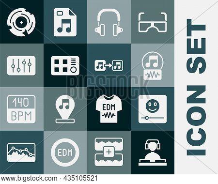 Set Dj Playing Music, Music Player, Note, Tone, Headphones, Drum Machine, Sound Mixer Controller, Vi