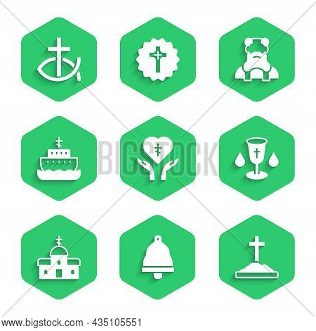 Set Religious Cross In Heart, Church Bell, Grave With, Christian Chalice, Building, Ark Of Noah, Pri