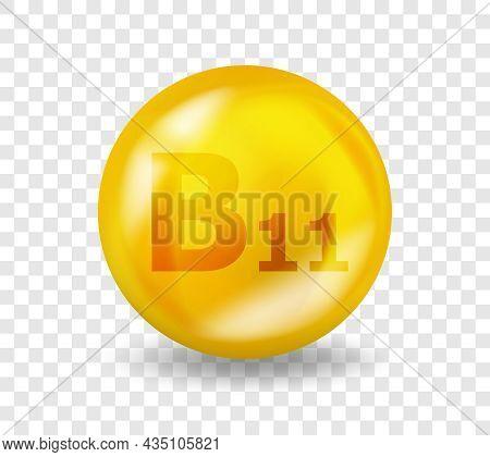 Vitamin B11 L-carnitine. Vitamin Complex Illustration Concept. B11 L-carnitine Pill Capsule. 3d Yell