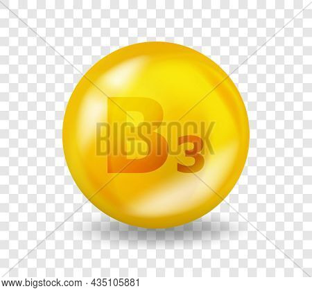 Vitamin B3 Niacin. Vitamin Complex Illustration Concept. B3 Niacin Pill Capsule. 3d Yellow Drug Nutr