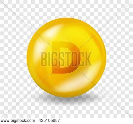 Vitamin D. Vitamin Complex Illustration Concept. D Pill Capsule. 3d Yellow Drug Nutrition Design