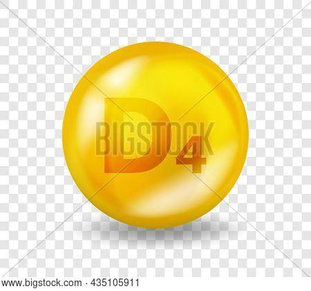 Vitamin D4 22-dihydroergocalciferol. Vitamin Complex Illustration Concept. D4 Pill Capsule. 3d Yello