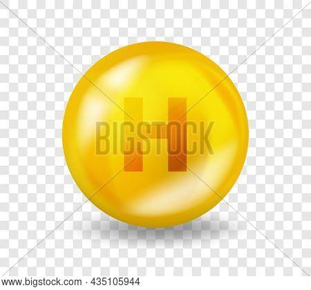 Vitamin H Biotin. Vitamin Complex Illustration Concept. H Biotin Pill Capsule. 3d Yellow Drug Nutrit