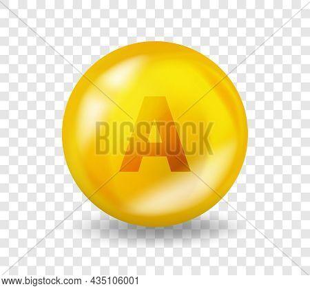 Vitamin A Retinol. Vitamin Complex Illustration Concept. A Retinol Pill Capsule. 3d Yellow Drug Nutr