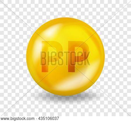 Vitamin Pp Niacin. Vitamin Complex Illustration Concept. Pp Niacin Pill Capsule. 3d Yellow Drug Nutr