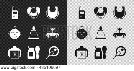 Set Baby Monitor Walkie Talkie, Dummy Pacifier, Bib, Bottle, Yogurt In With Spoon, Sperm, Little Boy
