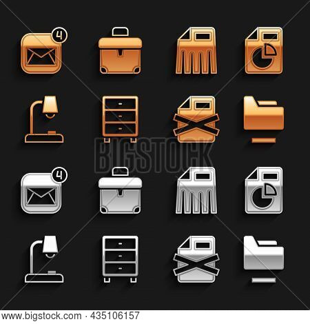 Set Archive Papers Drawer, Document With Graph Chart, Folder, Delete File Document, Table Lamp, Pape