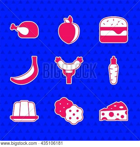 Set Sausage On The Fork, Cracker Biscuit, Cheese, Carrot, Jelly Cake, Banana, Burger And Roasted Tur