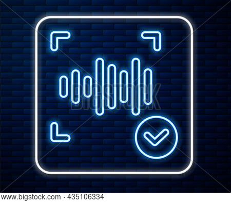 Glowing Neon Line Voice Recognition Icon Isolated On Brick Wall Background. Voice Biometric Access A