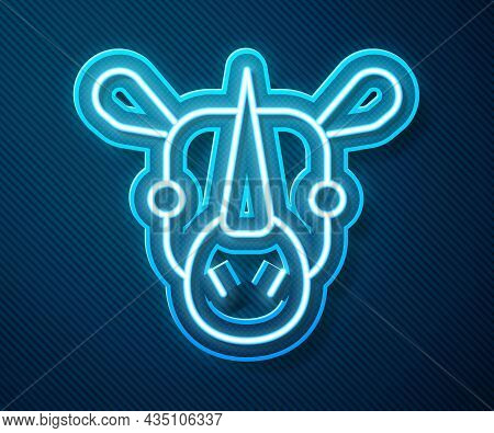 Glowing Neon Line Rhinoceros Icon Isolated On Blue Background. Animal Symbol. Vector